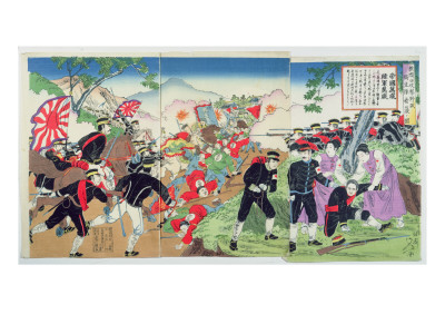 Nurses from the Red Cross During the Sino-Japanese War of 1894-95 Premium Giclee Print by  Japanese School