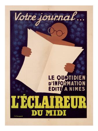 Poster Advertising 'L'Eclaireur Du Midi' Newspaper, C.1939 Premium Giclee Print by J.M. Bompard