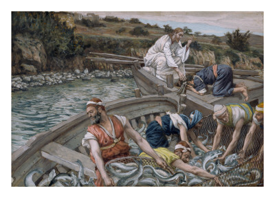 The First Miraculous Draught of Fish, Illustration for 'The Life of Christ', C.1886-94 Premium Giclee Print by James Tissot