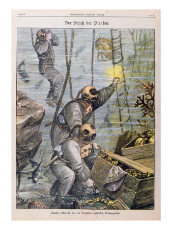 Divers Finding Treasure Plundered by Pirates from Churches, 1897 Lmina gicle