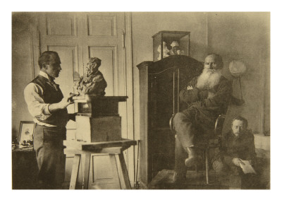 Leo Tolstoy and the Sculptor Prince Paolo Troubetzkoy Premium Giclee Print by Sophia Andreevna Tolstaya