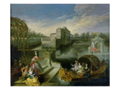 The Spring: Fete Champetre in a Water Garden with Figures in a Boat Giclée-tryk