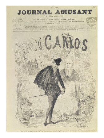 Front Page of 'Le Journal Amusant', with a Caricature of Don Carlos Premium Giclee Print by Arjou Henri Darfou