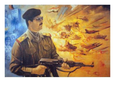 Saddam Hussein Fresco at Basra Depicting Him in Heroic Style Premium Giclee Print