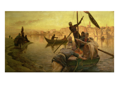 In Cairo: the Ferry from the Island of Gazirie on the Nile or Boulach the Port of Cairo Premium Giclee Print by Joseph Farquharson