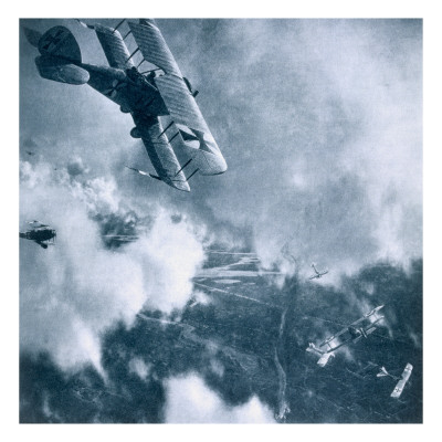 Aerial Combat on the Western Front, World War One Giclee Print by  German photographer