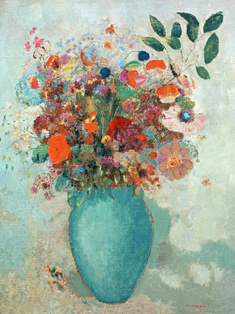Flowers in a Turquoise Vase, C.1912 Premium Giclee Print by Odilon Redon