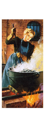 Madame Curie at Work in Her Laboratory Giclee Print by  English School
