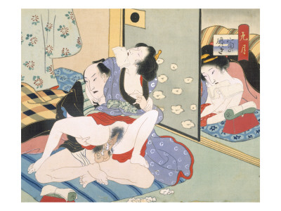 Woman Observing as Couple Have Sex Premium Giclee Print by  Japanese School