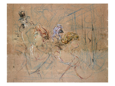 Sketch for 'At the Masked Ball', C.1892 Premium Giclee Print by Henri de Toulouse-Lautrec