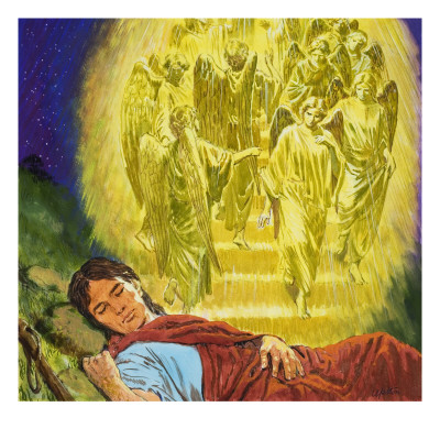 Strange Dreams from the Bible: Jacob's Ladder Giclee Print by Clive Uptton