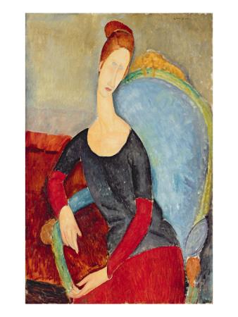 Mme Hebuterne in a Blue Chair, 1918 Stampa giclée di Amedeo Modigliani
