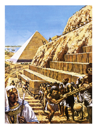 Construction of the Great Pyramid at Giza Premium Giclee Print by  Green