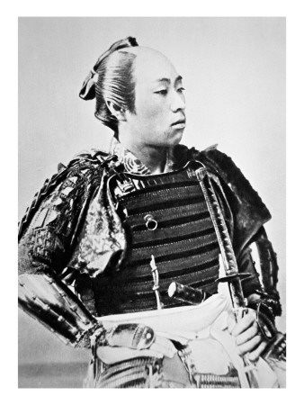 Samurai of Old Japan with Traditional Hairstyle Premium Giclee Print by  Japanese Photographer