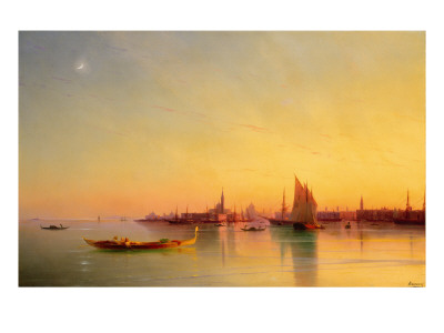 Venice from the Lagoon at Sunset Premium Giclee Print by Ivan Konstantinovich Aivazovsky