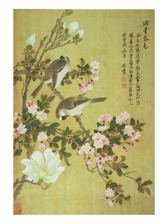 Crabapple, Magnolia and Baitou Birds Gicléetryck av Ma Yuanyu