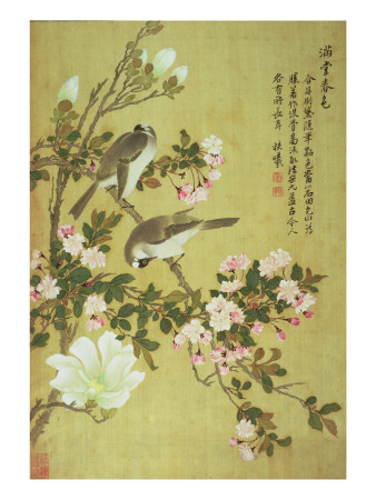 Crabapple, Magnolia and Baitou Birds Giclee Print