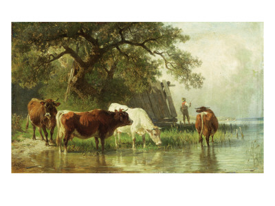 Cattle Watering in a River Landscape, 19th Century Premium Giclee Print by Friedrich Voltz