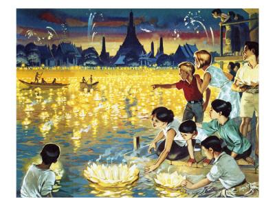 Loy Krathong Festival in Bangkok Premium Giclee Print by  Mcbride