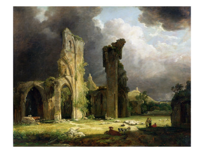 Glastonbury Abbey with the Tor Beyond Premium Giclee Print by George Arnald
