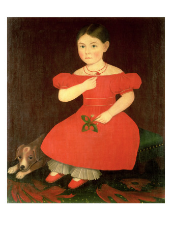 Portrait of a Girl in a Red Dress Premium Giclee Print by  Phillips