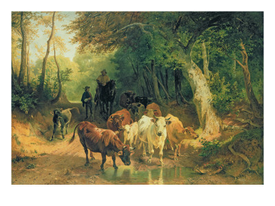 Cattle Watering in a Wooded Landscape Premium Giclee Print by Friedrich Voltz