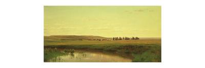 A Wagon Train on the Plains Giclee Print by Thomas Worthington Whittredge
