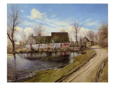 Farmhouses in Baldersbronde Gicléetryck av Laurits Andersen Ring