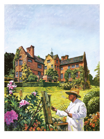 Winston Churchill Painting at Chartwell Premium Giclee Print by  Green