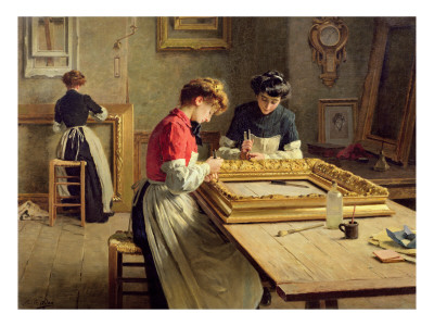 Interior of a Frame Gilding Workshop Premium Giclee Print by Louis-Emile Adan