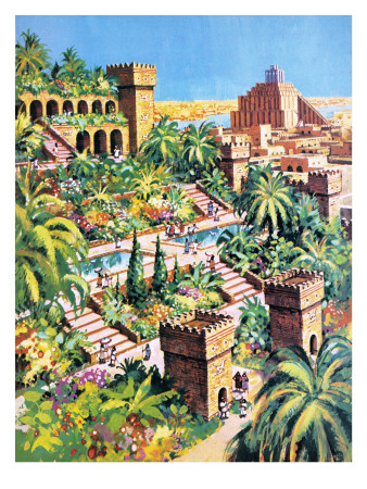 The Hanging Gardens of Babylon Premium Giclee Print by  Green