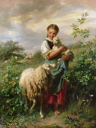 The Shepherdess, 1866 Giclee Print by Johann Baptist Hofner