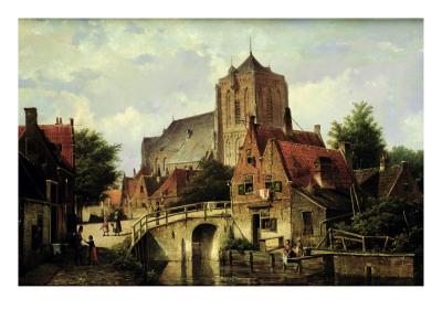 A Dutch Town with a Church Premium Giclee Print by Willem Koekkoek