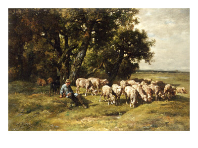 A Shepherd and His Flock Premium Giclee Print by Charles Emile Jacque