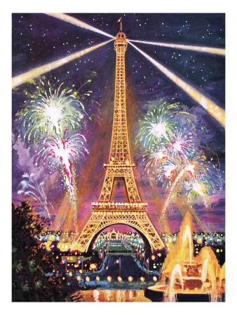 Eiffel Tower with Fireworks Premium Giclee Print by  Green