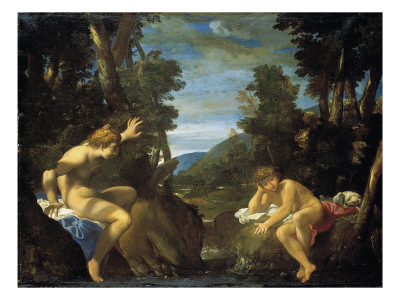Salmacis and Hermaphroditus Giclée-tryk af Ludovico Carracci