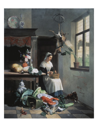 A Maid in the Kitchen Premium Giclee Print by David Noter