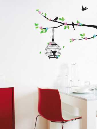 Color Blossom and Birds in Tree Silhouette Mode (wallstickers)