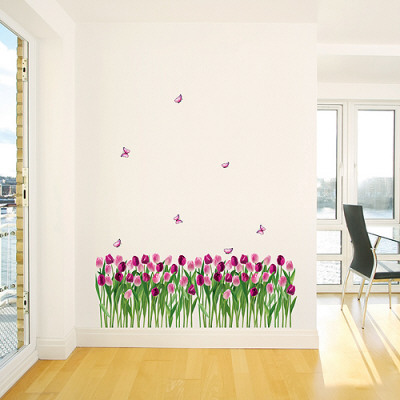 Tulips and Butterflies Purple Pink Decalque em parede
