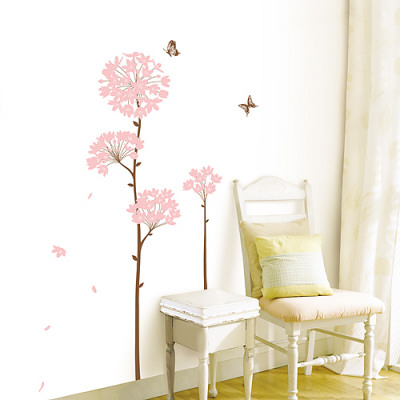 Long Stem Pink Flower Butterfly Petals Wall Decal