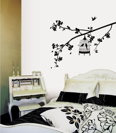 Parisian Spring Bird in Tree Silhouette Wallstickers