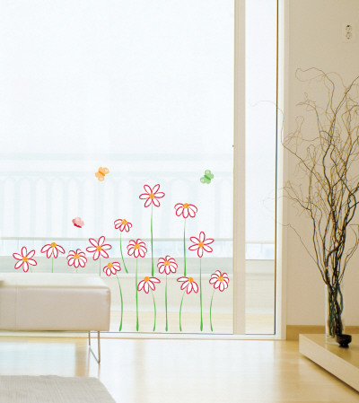 Daises and Butterflies Wall Decal