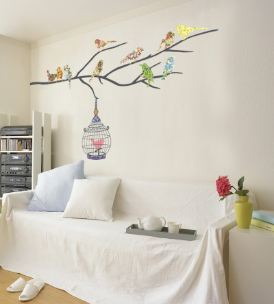 Birds in Tree Vinilos decorativos