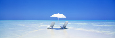 Beach, Ocean, Water, Parasol and Chairs, Maldives Wallstickers