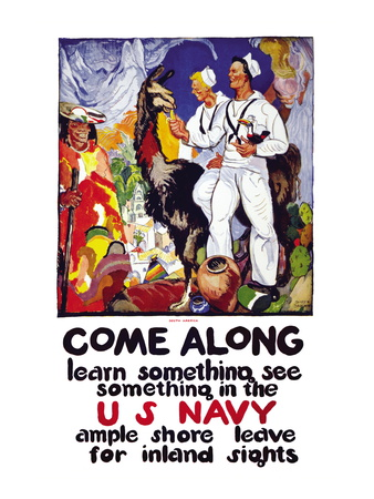 Learn Something, See Something in the U.S. Navy, c.1919 Wall Decal by James Henry Daugherty