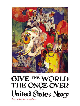 Give the World the Once Over in the United States Navy , c.1919 Wall Decal by James Henry Daugherty