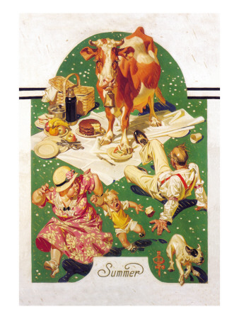 Breaking Up a Picnic Wall Decal by Joseph Christian Leyendecker