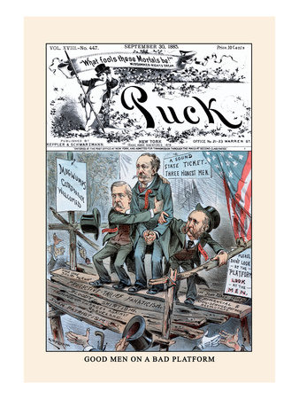 Puck Magazine: Good Men on a Bad Platform Wall Decal by Eugene Zimmerman