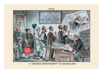 Puck Magazine: A Modern Improvement in Journalism Wall Decal by Frederick Burr Opper