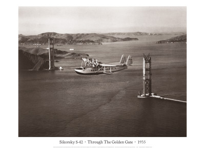 Sikorsky S-42 through the Golden Gate under Construction, San Francisco, 1935 Wall Decal by Clyde Sunderland